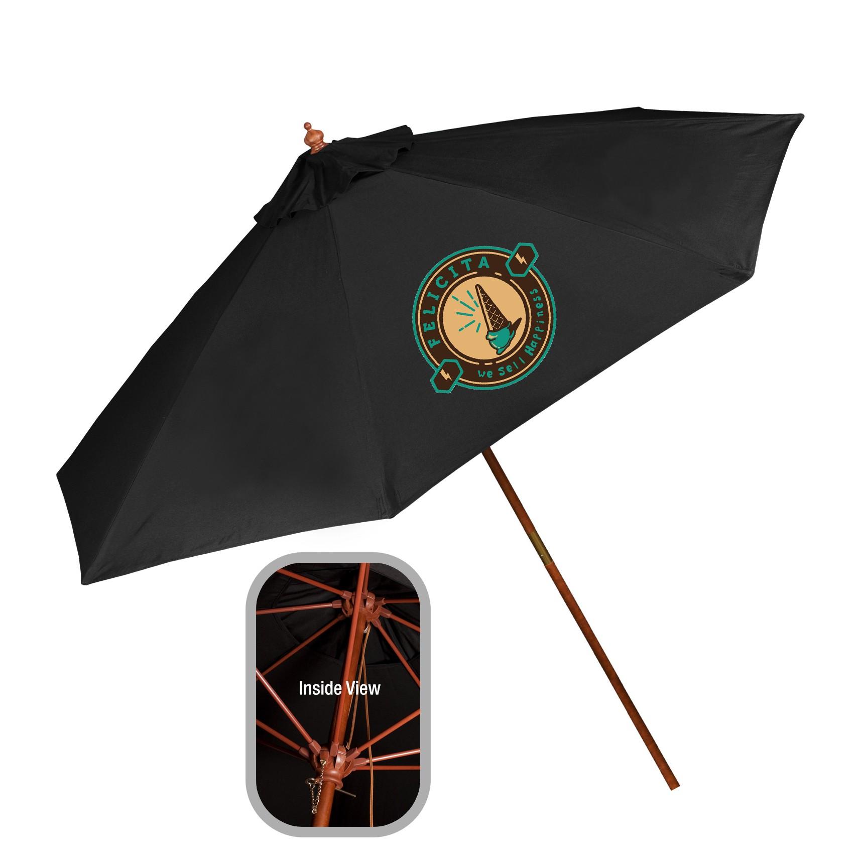 9' Wooden Market Umbrella